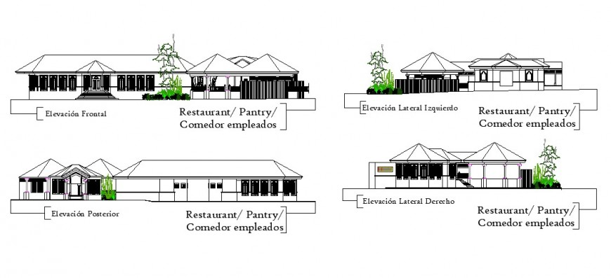 Restaurant building blocks elevation detail 2d view layout file in dwg format