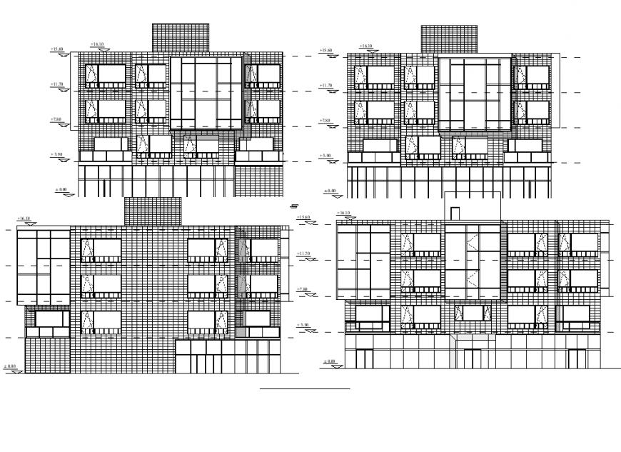 Restaurant building detail elevation and plan autocad file