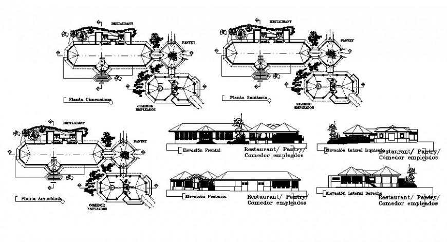 Restaurant building drawings detail 2d view elevation autocad file