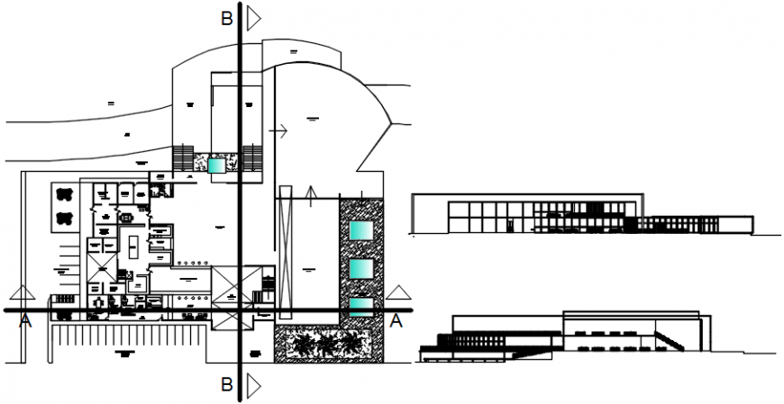 Restaurant building elevation, section and plan cad drawing details dwg file