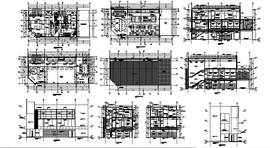 Restaurant building elevation and sectional units dwg file