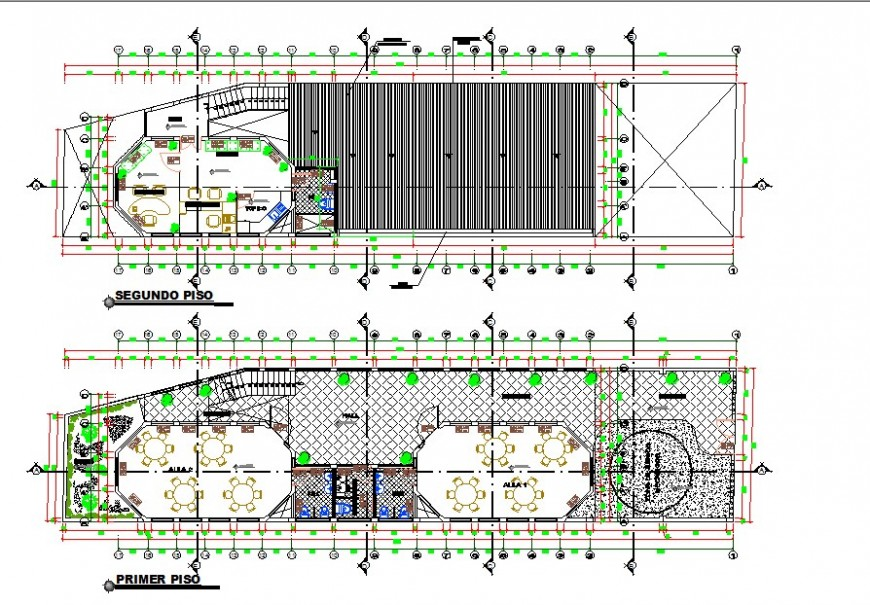 Restaurant building plan 2d view CAD structural block layout file in autocad format