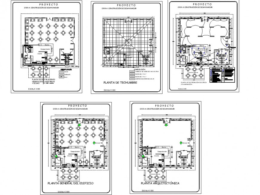 Restaurant building plan and electrical fittings detail 2d view CAD block autocad file