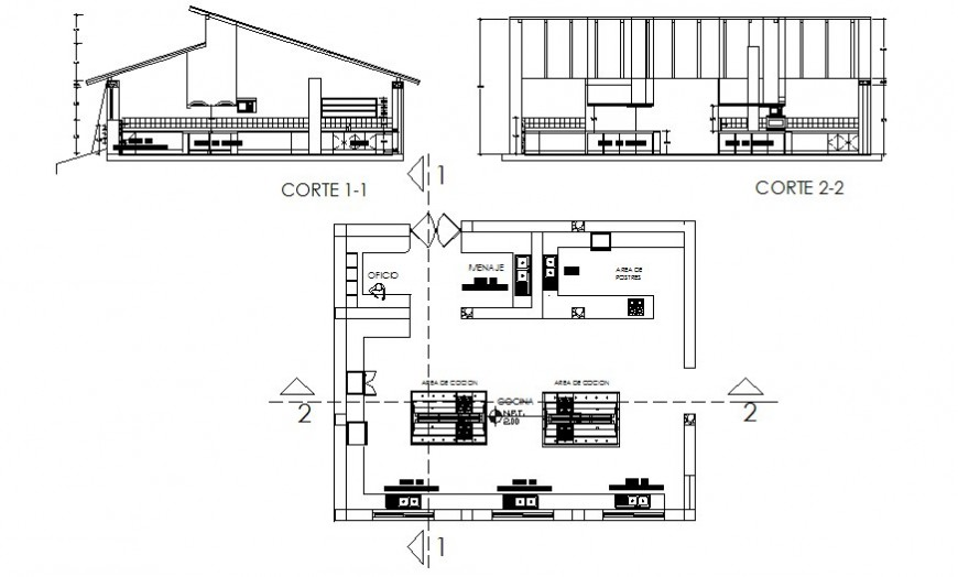 Restaurant building plan and section autocad file