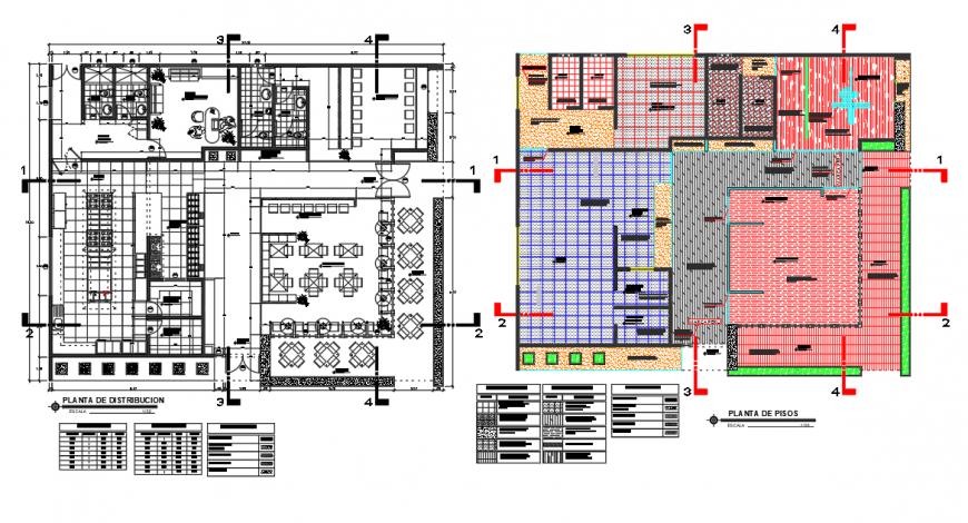 Restaurant building plan detail 2d view CAD structural unit block autocad file