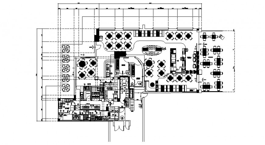 Restaurant building plan detail drawing in autocad format