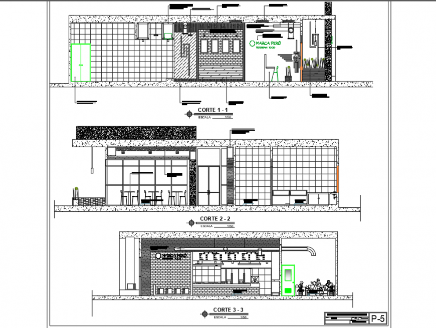 Restaurant building section detail 2d view CAD construction block layout file in dwg format