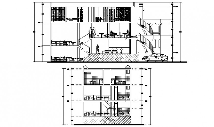 Restaurant building sectional drawing in AutoCAD