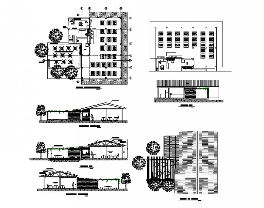 Restaurant building structure detail plan and elevation 2d view layout dwg file