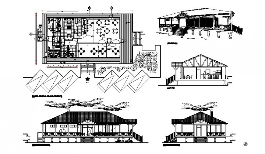 Restaurant building work plan with elevation and section details in autocad