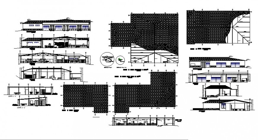 Restaurant detail elevation and section drawing 2d view autocad file