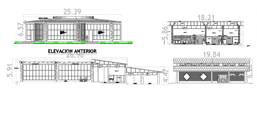 Restaurant development elevation and section cad drawing details dwg file