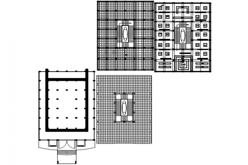 Restaurant dining hall and structure plan details dwg file