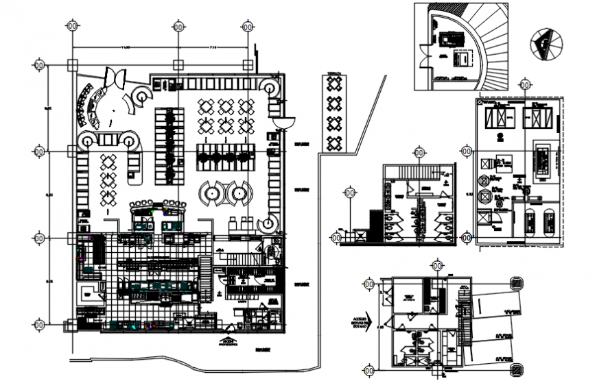 Restaurant distribution plan, furniture and sanitary installation drawing details dwg file