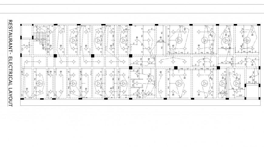 Restaurant electrical layout plan detail dwg file