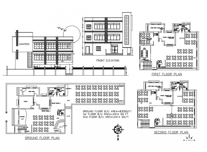 Restaurant elevation, ground, first and second floor plan details dwg file