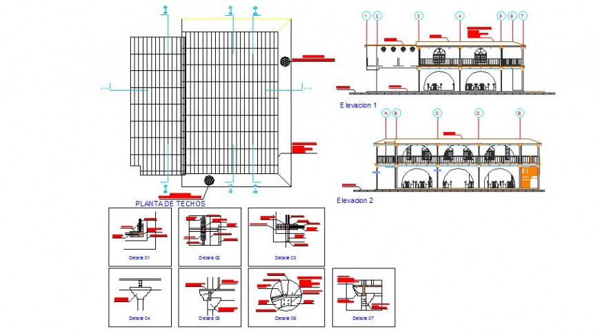Restaurant elevation, section and constructive structure details dwg file