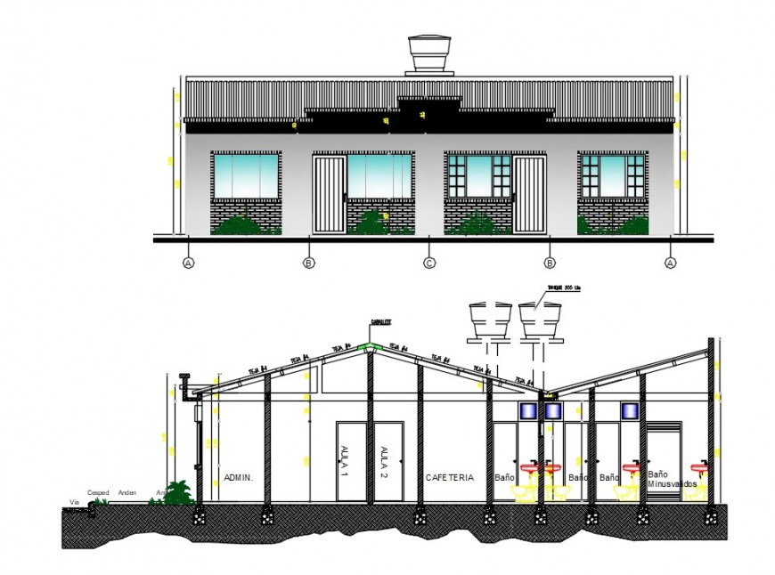 restaurant elevation and section plan cad file