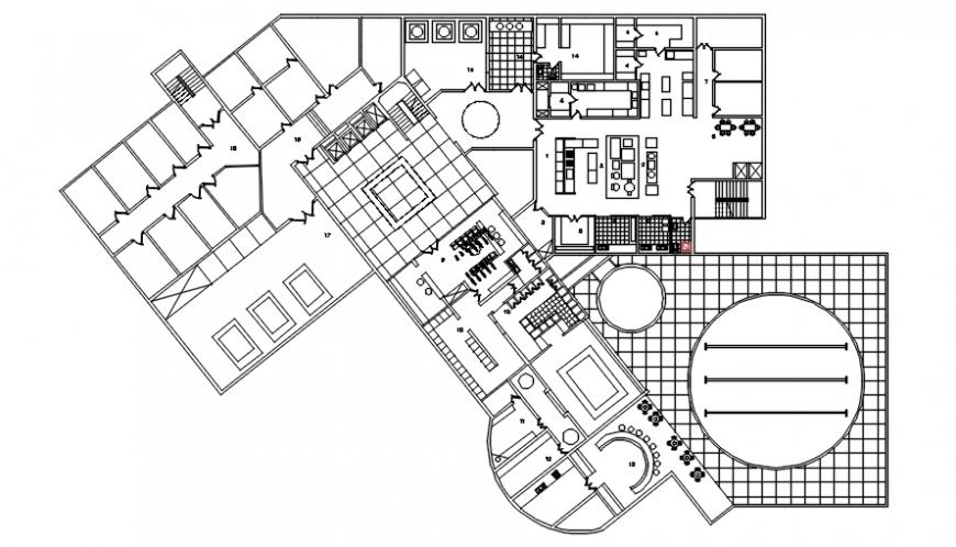 Restaurant floor plan in auto cad