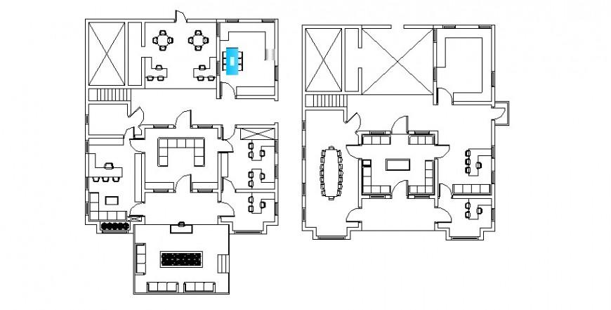 Restaurant floor plan in AutoCAD software