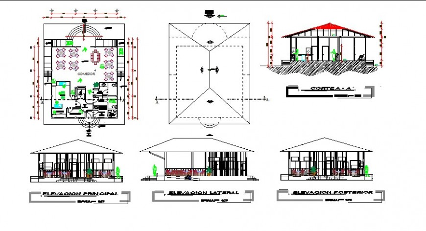Restaurant front and back elevation and section and floor plan cad drawing details dwg file