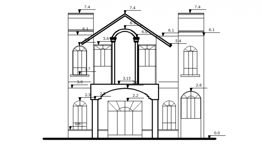 Restaurant front view in auto cad file
