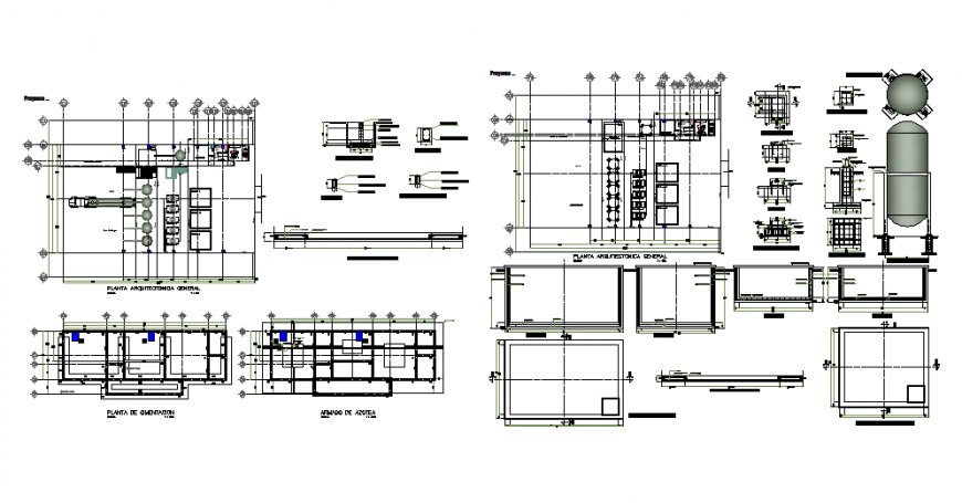 Restaurant general layout plan, foundation plan, furniture details and auto-cad details dwg file