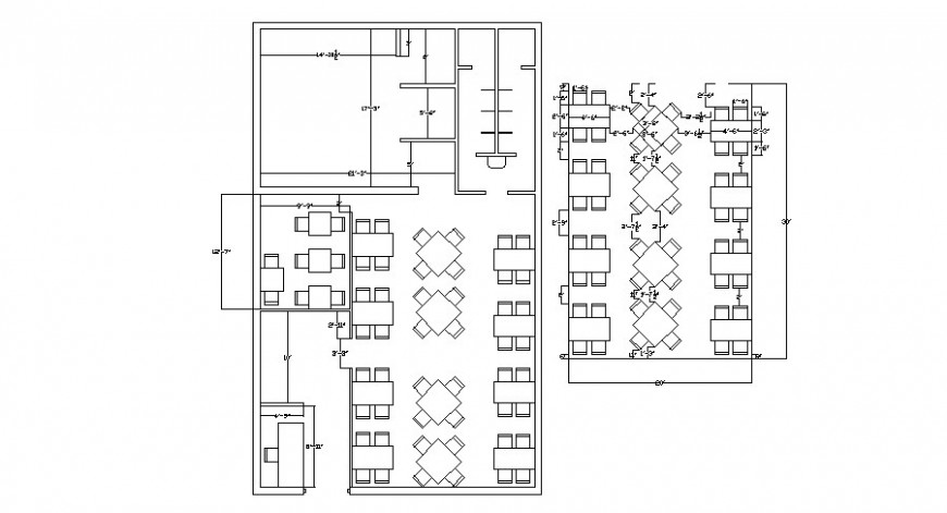 Restaurant general layout plan with furniture layout cad drawing details dwg file