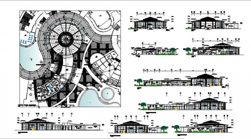 Restaurant general plan elevation and section view in auto cad