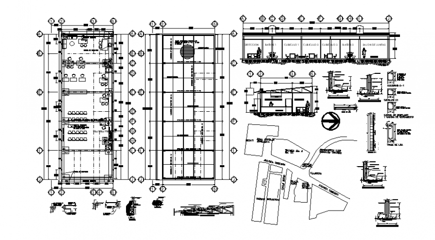 Restaurant interior sectional detail and plan