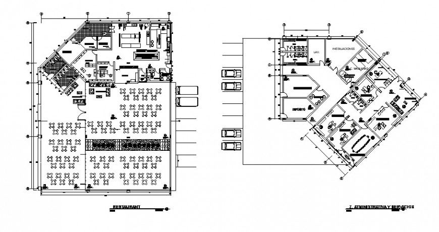 Restaurant layout plan and administrate service plan cad drawing details dwg file