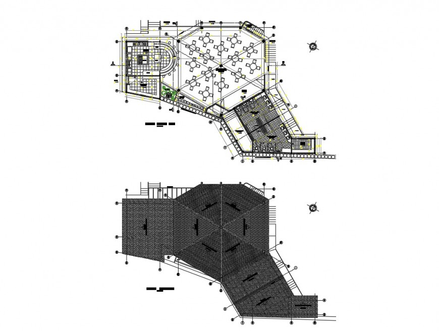 Restaurant layout plan and cover plan cad drawing details dwg file
