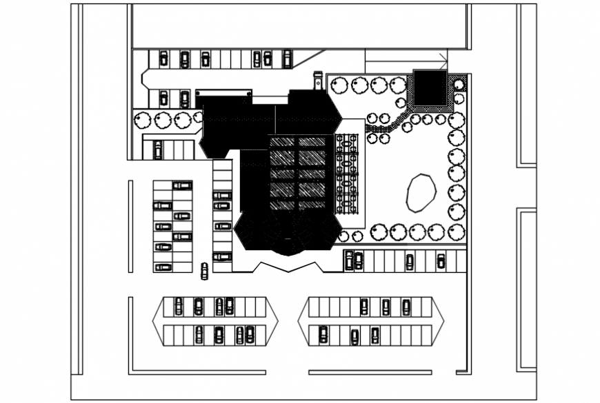 Restaurant layout plan and landscaping structure details dwg file