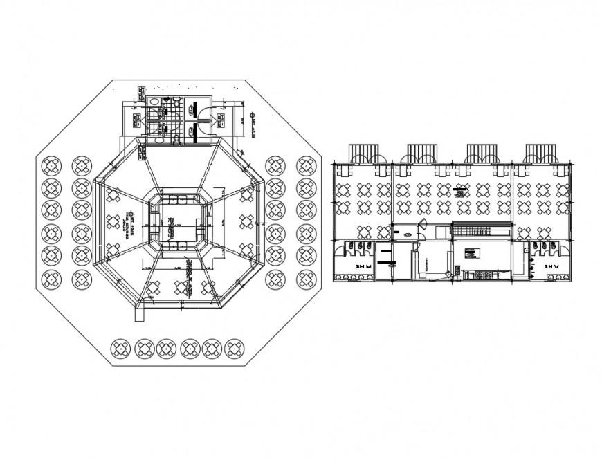Restaurant layout plan details of hotel building dwg file