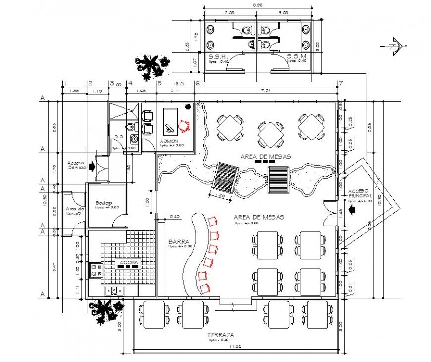 Restaurant layout plan with bar area in dwg AutoCAD file.