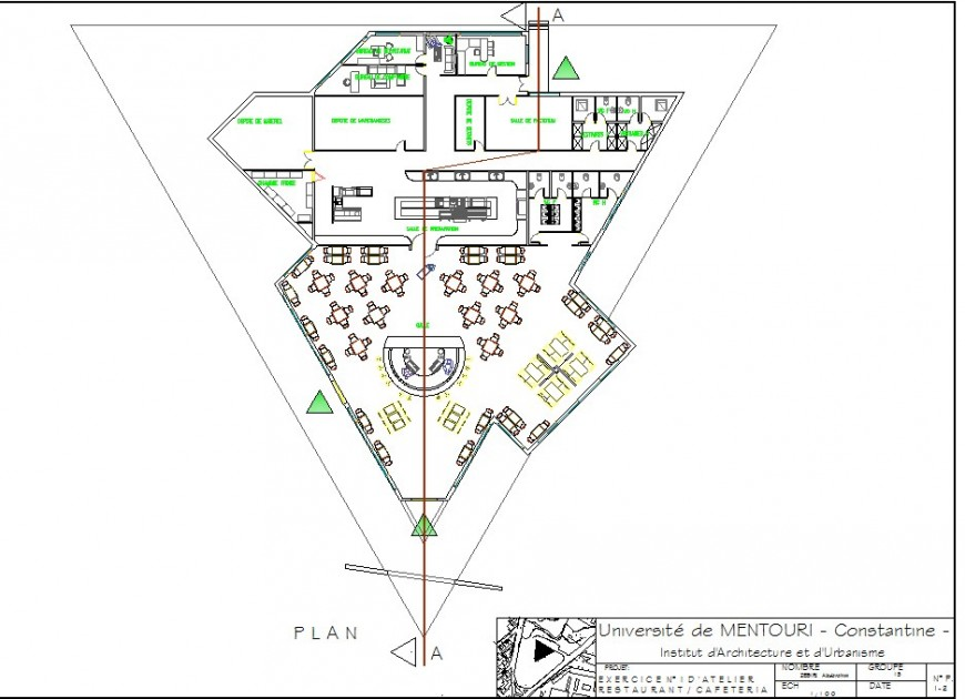 Restaurant layout plan with modern concept drawing in dwg AutoCAD file.