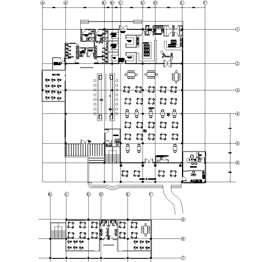 Restaurant lounge bar drawing in dwg file.