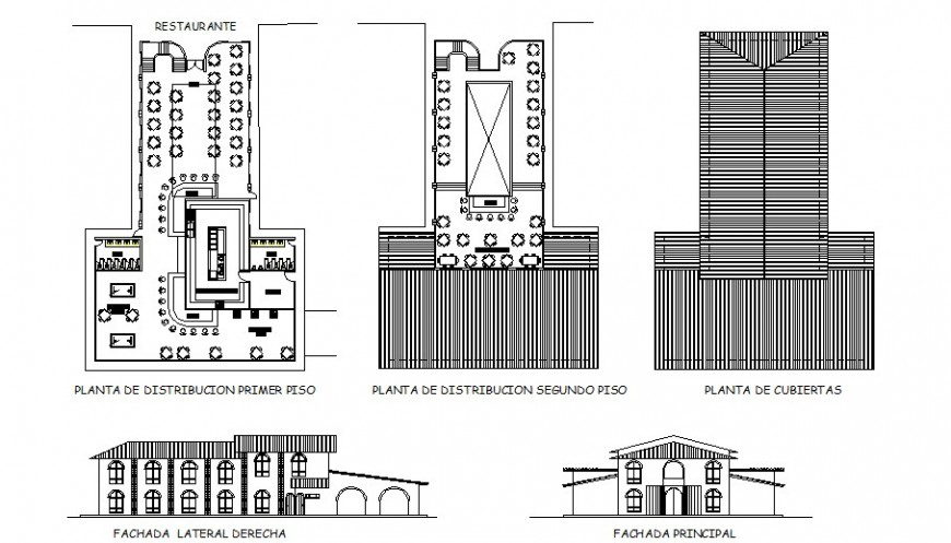 Restaurant main and back elevation, floor plan and auto-cad details dwg file