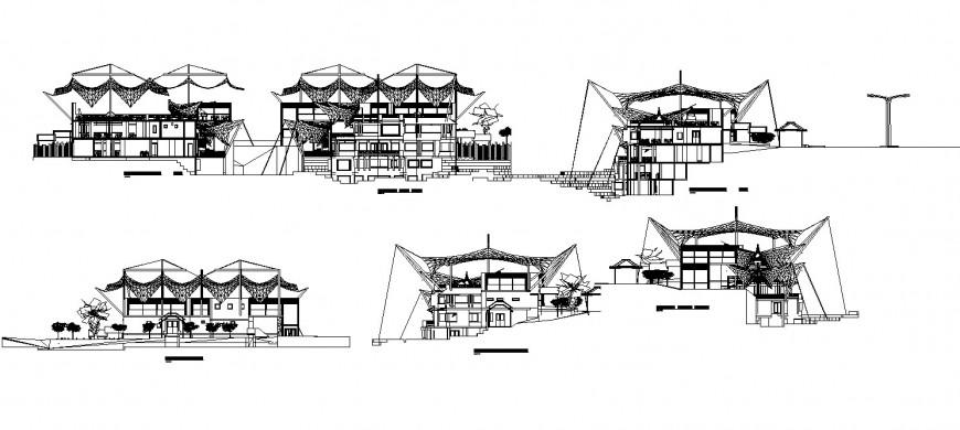 Restaurant Maracay cut elevation detail drawing in dwg AutoCAD file.