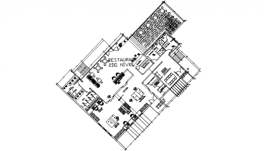 Restaurant on second floor distribution plan cad drawing details dwg file