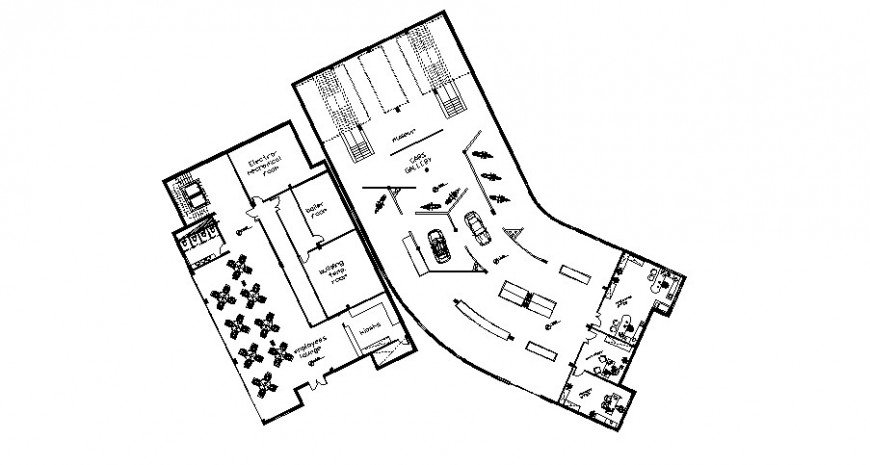 Restaurant parking and seating area layout plan drawing in dwg AutoCAD file.