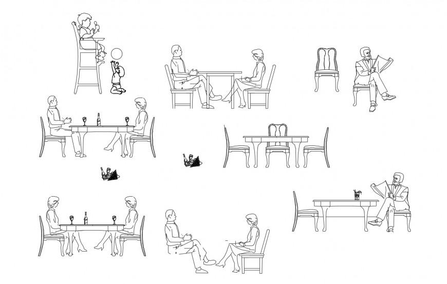 Restaurant people and furniture elevation blocks cad drawing details dwg file