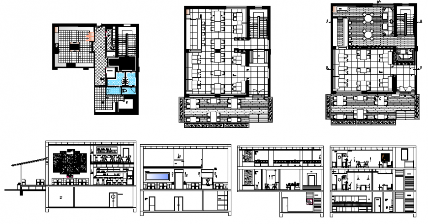 Restaurant plan and section in dwg file.