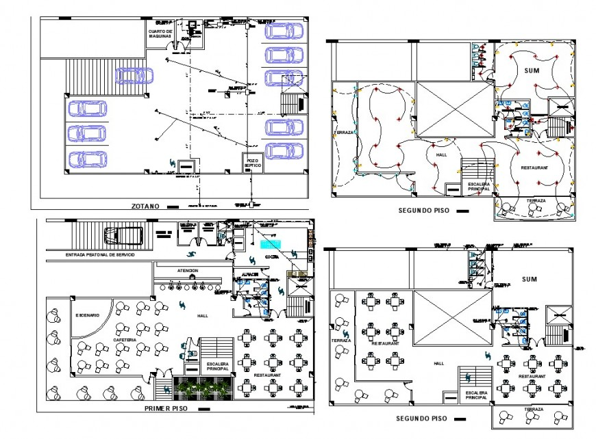 Restaurant plan with furniture detail 2d view layout file in autocad format