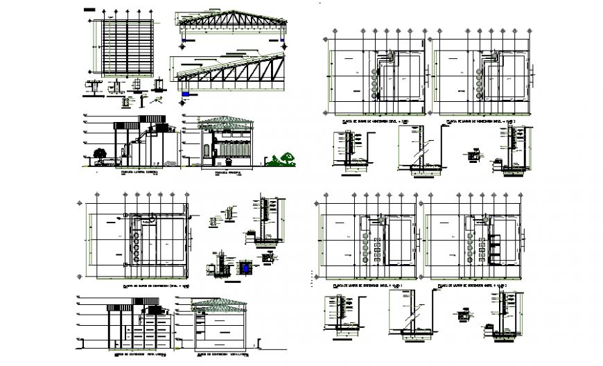 Restaurant section, floor plan and constructive structure details dwg file