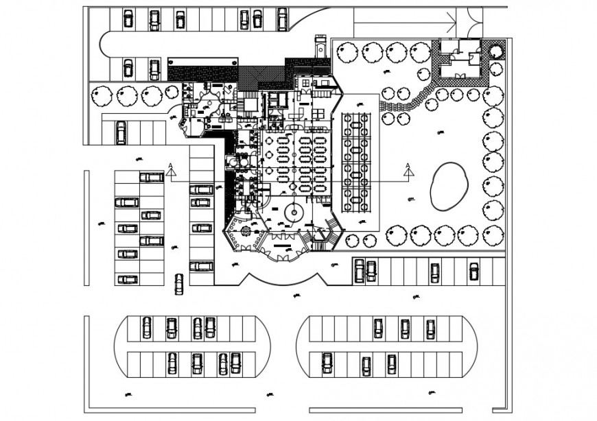 Restaurant sectional plan dwg file In Autocad format