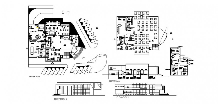 Restaurant three story-elevation, section, floor plan and auto-cad drawing details dwg file