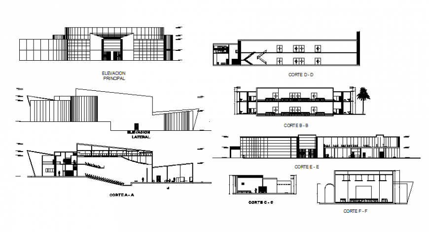 Restaurant two-level elevation, section and floor plan cad drawing details dwg file