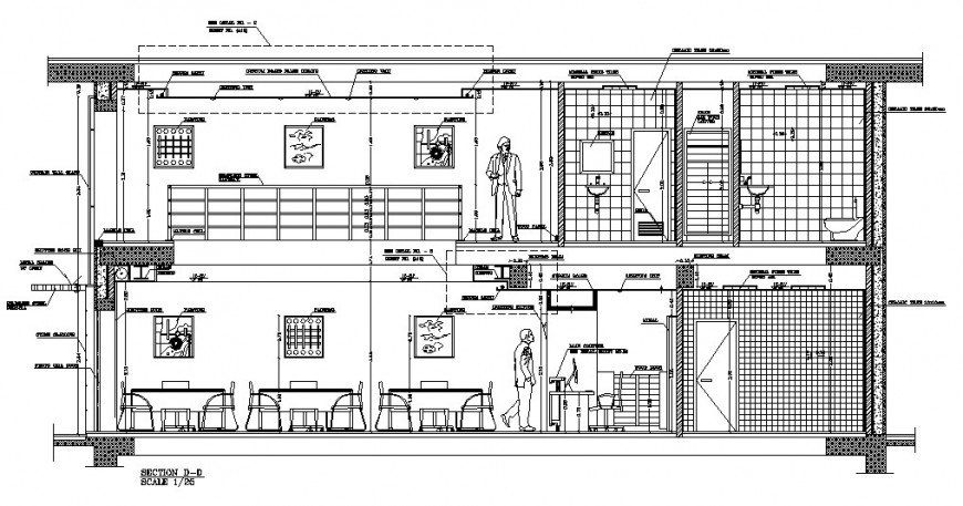 Restaurant two story front section cad drawing details dwg file