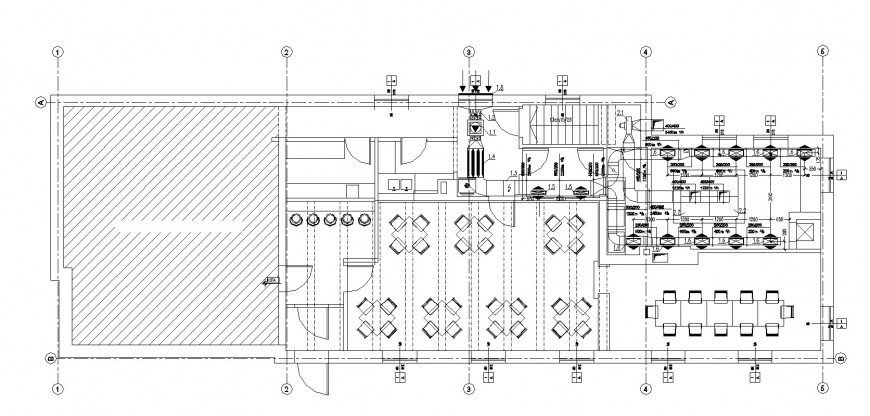 Restaurant ventilation layout plan detail drawing in dwg AutoCAD file.